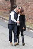 Kevin Jonas kissed his wife, Danielle Jonas, in New Jersey on Wednesday while holding her pregnant belly. Aww!