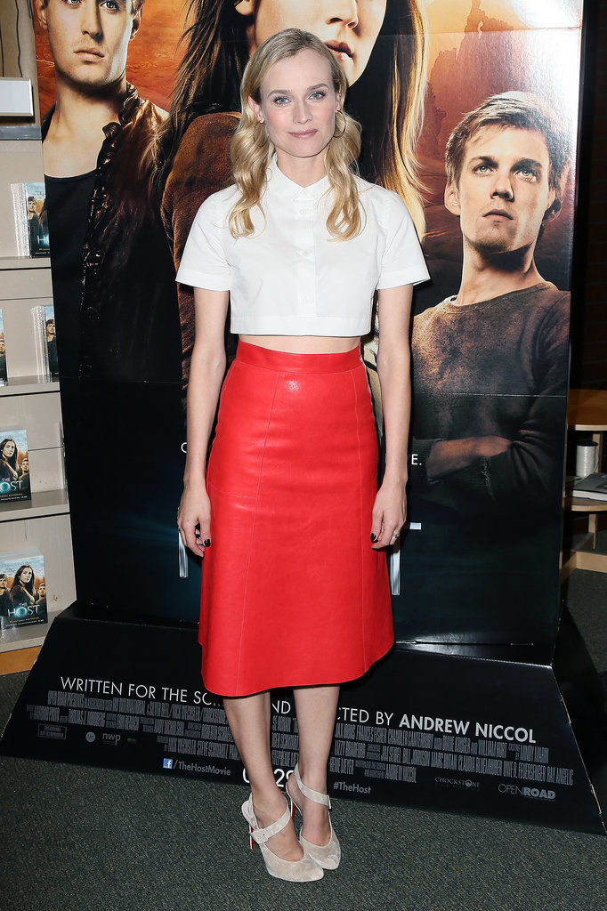 Leave it to Diane Kruger to always up the fashion ante. The blond trendsetter worked a bold, modern, and totally cool pairing, a cropped white Carven top and red leather Vanessa Bruno skirt, for a March 2013 book signing in LA. Where to Wear: A wine tasting.