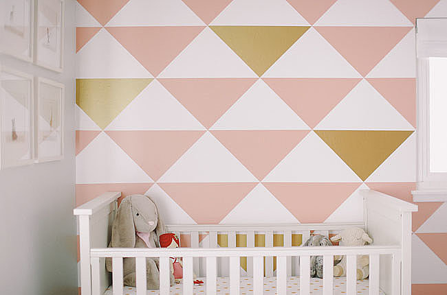 A Mod Pink-and-Gold Wall