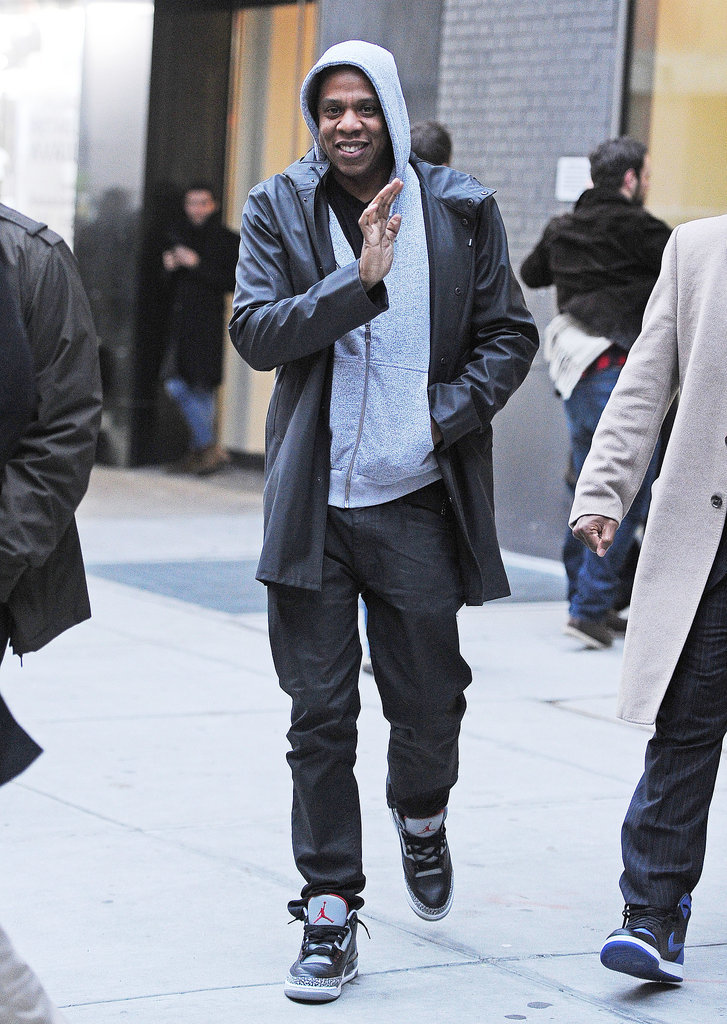 Jay Z waved to fans in NYC on Thursday.