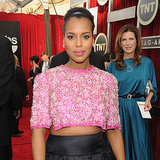 Kerry Washington Pregnant in Crop Top With Hair in Bun SAGs
