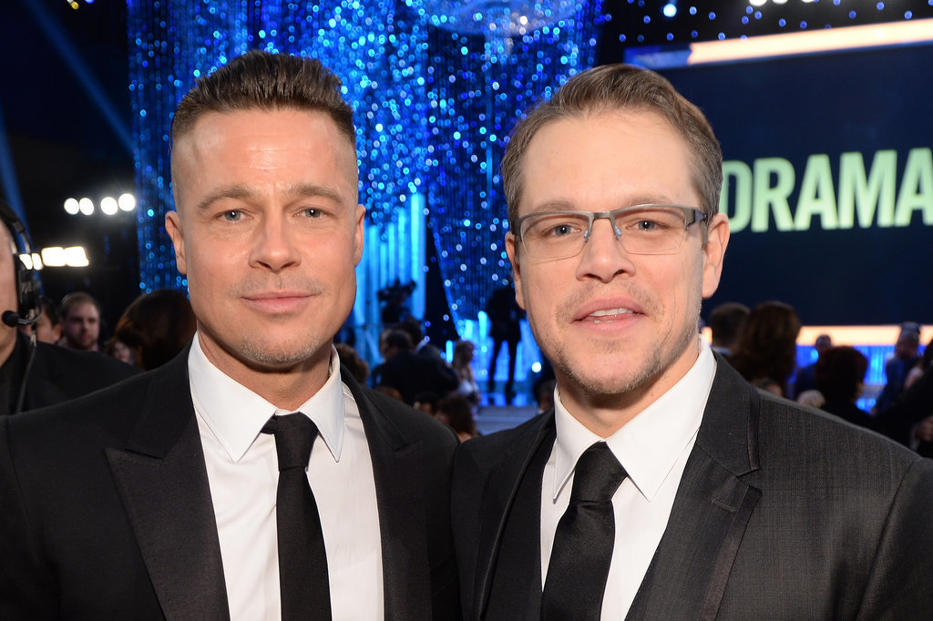 Brad Pitt and Matt Damon smiled.