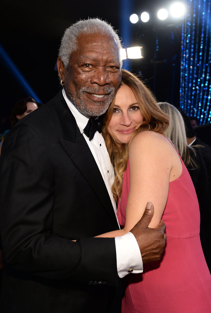 Julia cuddled up to Morgan Freeman.