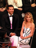 Bradley Cooper and his girlfriend, Suki Waterhouse, smiled.