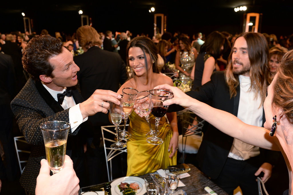 Cheers! Matthew McConaughey, Camila Alves, Jared Leto, and Jennifer Garner clinked glasses.