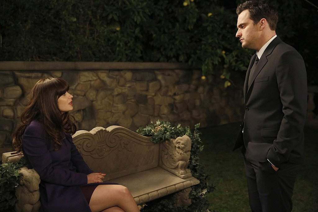 "Jess (Zooey Deschanel) and Nick (Jake Johnson) have a serious conversation in ""Party Time."""