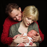 Cate and Andrew posed with their first child, Dashiell John, in December 2001.