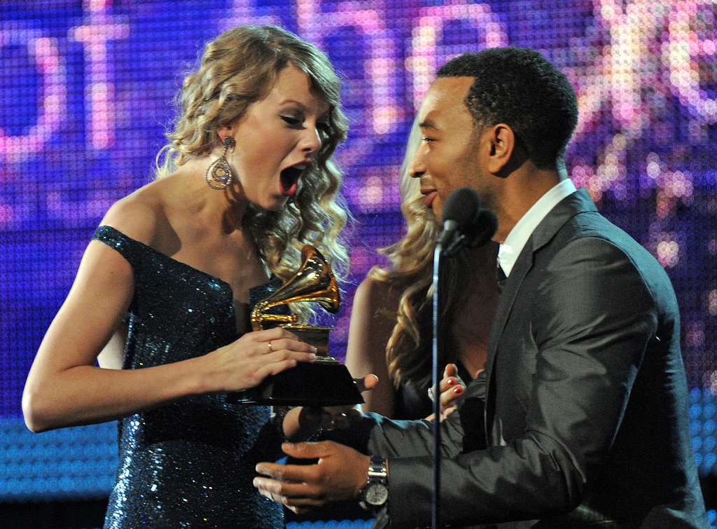 The look on Taylor Swift's face said it all when she was presented with one of four trophies during the 2010 award show.