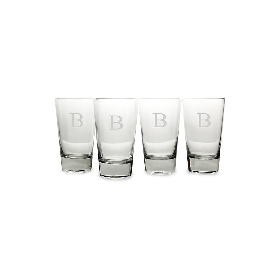 Skip the red plastic cups and serve your guests with monogrammed pint glasses ($60) instead.