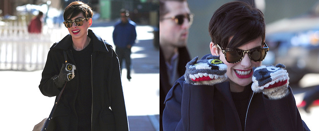 Anne Hathaway Rocks Some Serious Statement Mittens