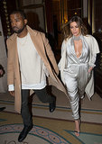 Kim Kardashian and her fiancé, Kanye West, walked hand in hand in Paris on Monday.