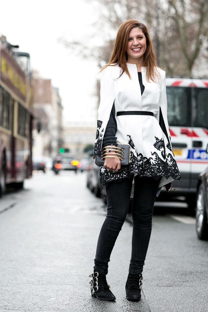 Black and white executed beautifully on top and with just a little edge on bottom with those buckled booties.