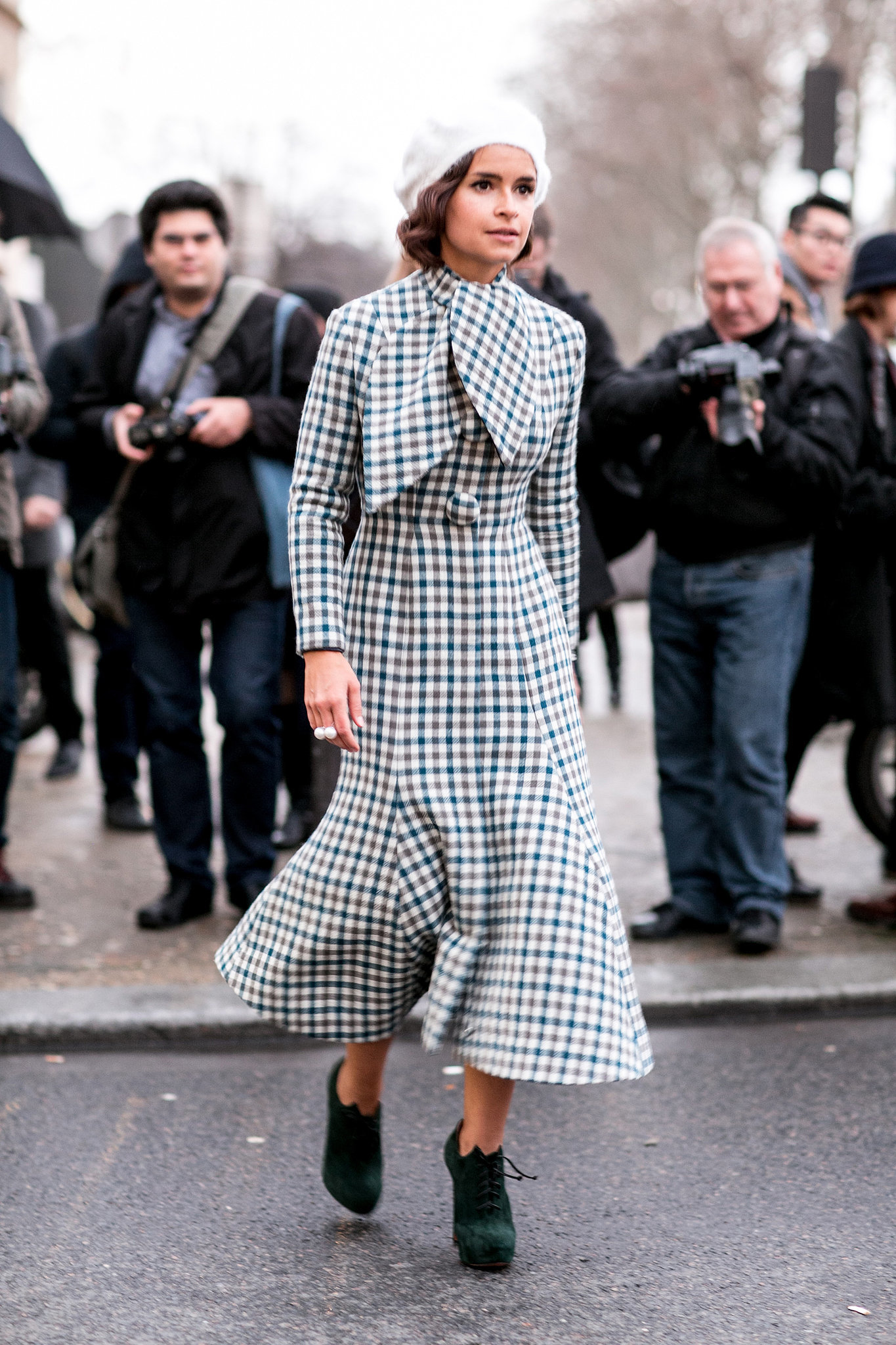 Miroslava Duma was like a vision from a vintage '40s film in her ladylike checks.