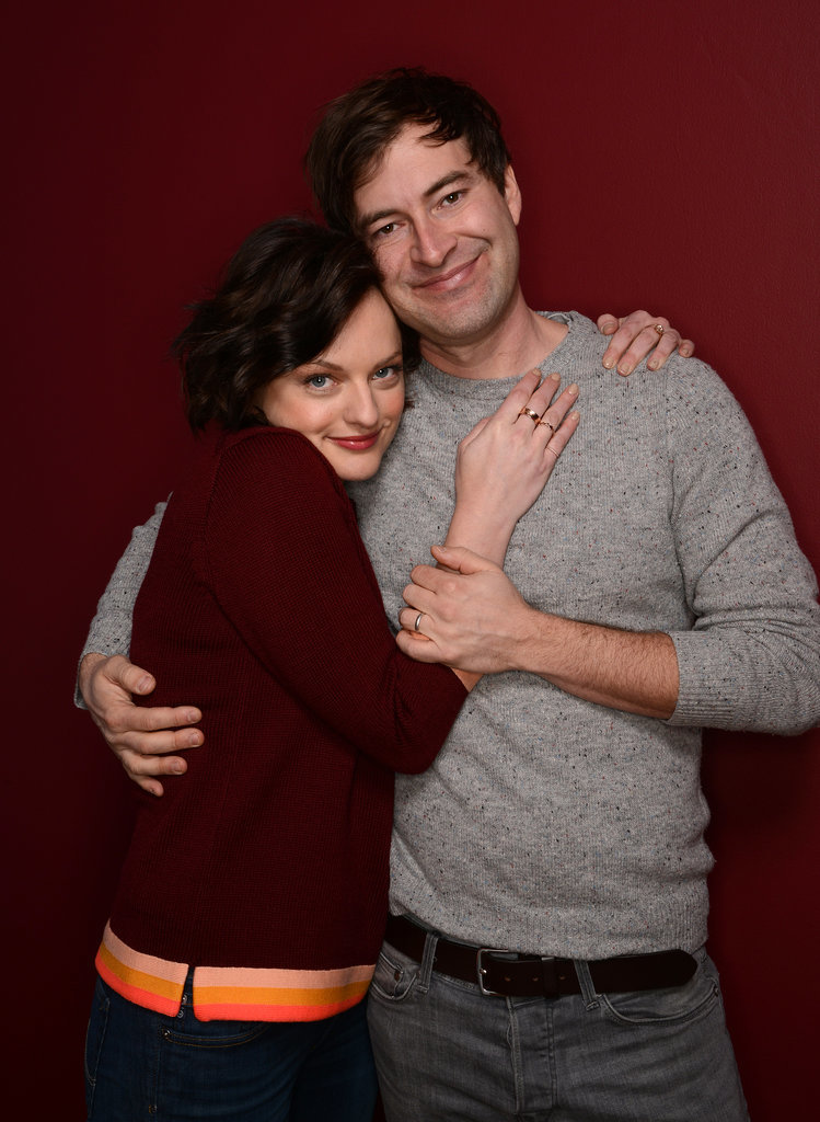 Elisabeth Moss and Mark Duplass cuddled up on Tuesday.