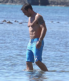 Alex O'Loughlin's muscles were front and center during production of Hawaii Five-0 in Honolulu, HI, on Monday.