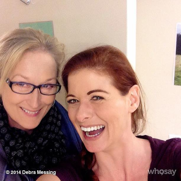 "Upon getting a visit from Meryl Streep, funny mama Debra Messing shared this photo with the caption, ""MERYL F*CKING STREEP in my dressing room!! #dead #cantspeak."" Source: Instagram user therealdebramessing"