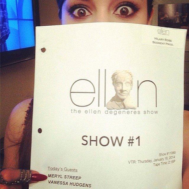 Vanessa Hudgens (understandably) freaked out a bit once she realized she was doing The Ellen DeGeneres Show on the same day as Meryl Streep. Source: Instagram user vanessahudgens