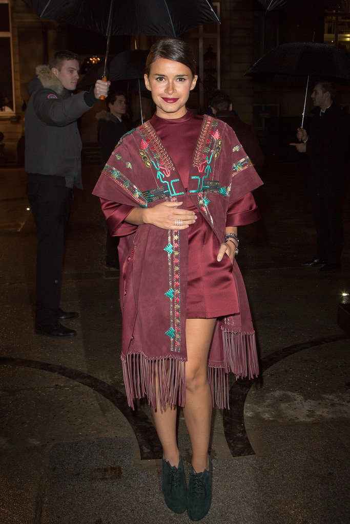 Miroslava Duma arriving for the Valentino Haute Couture show.