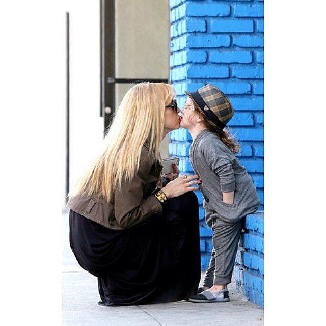 Rachel Zoe got a sweet smooch from her eldest son, Skyler. Source: Instagram user rachelzoe