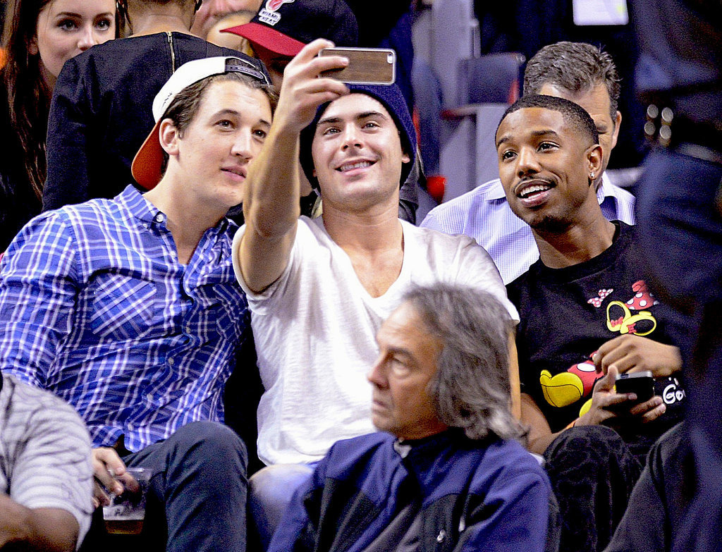 Miles Teller, Zac Efron, and Michael B. Jordan took a selfie together while watching the Lakers play the Miami Heat in Miami on Thursday.