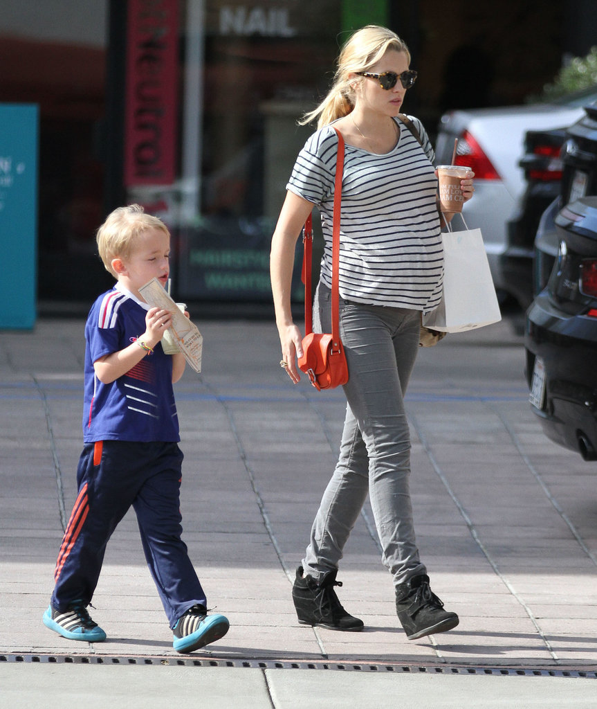 Teresa Palmer's baby bump was front and center while running errands with her future stepson, Isaac, in LA on Saturday.