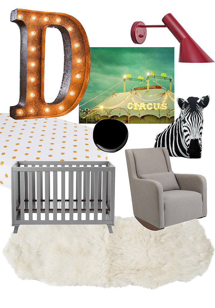 Get the Look: Vintage marquee light ($229), carnival photograph ($134), red wall sconce ($206, originally $242), fitted crib sheet ($29), black paint ($20 and up per gallon), zebra pillow ($30), low-rise crib ($899), rocker ($999), sheepskin rug ($144)
