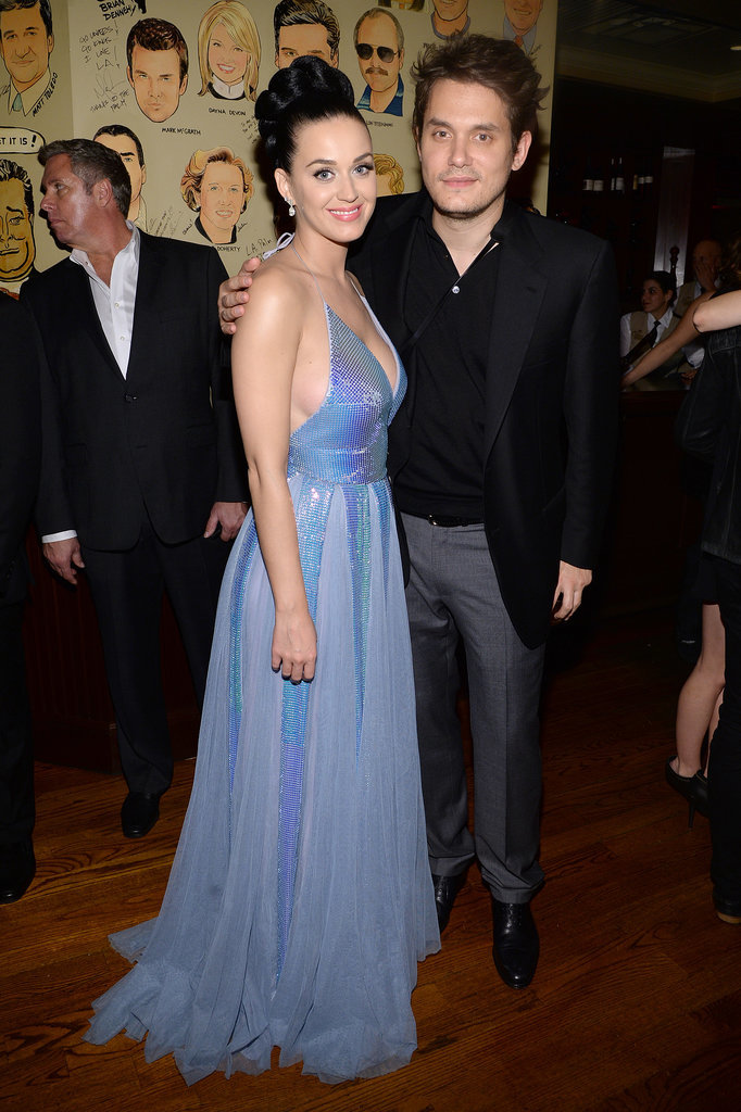 John Mayer met up with Katy Perry at the Sony Music afterparty.
