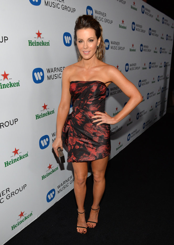 Kate Beckinsale in Red and Black Dress at Grammys Afterparty