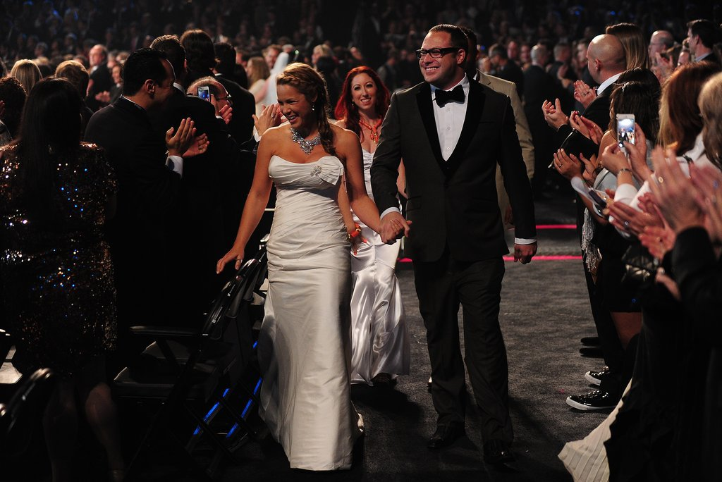A bride was all smiles as she and her new husband made their way down the Grammys aisle.