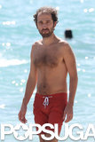 Thomas Bangalter spent time on a Miami beach in October 2013.