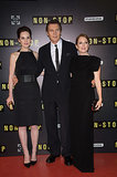 Michelle Dockery, Julianne Moore, and Liam Neeson premiered Non-Stop in Paris on Monday.