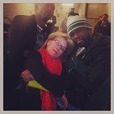 "Things ""got gangsta"" for Meryl Streep when she met up with Kobe Bryant and 50 Cent at a NY Knicks game. Source: Instagram user 50cent"