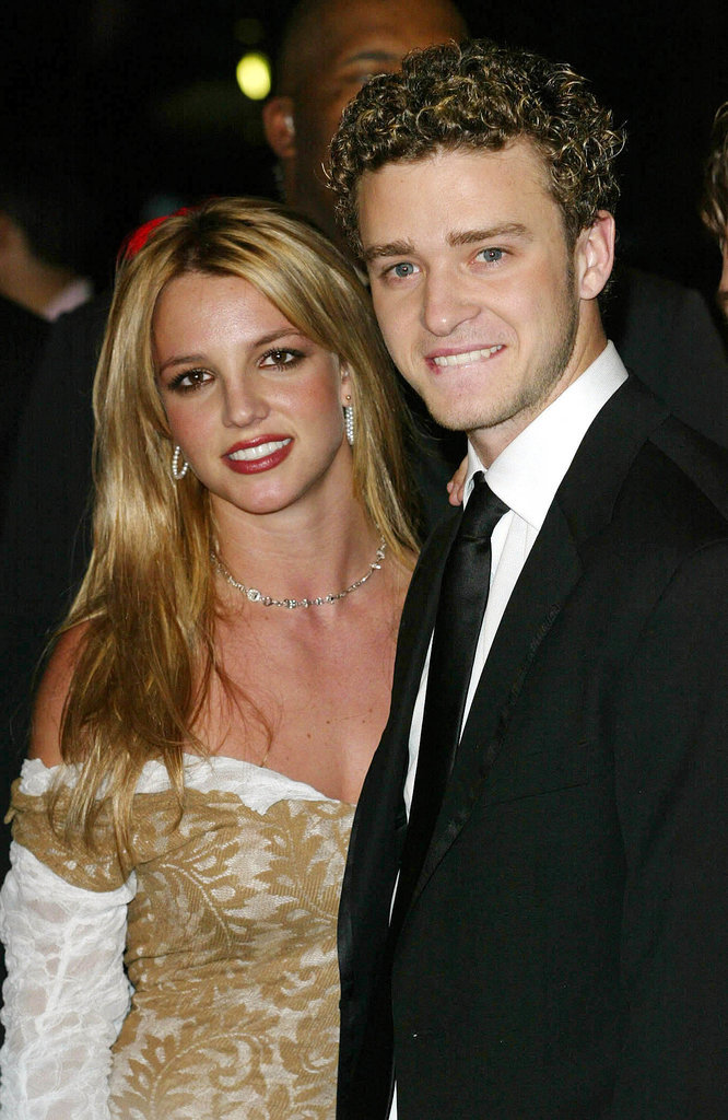 Justin and then-girlfriend Britney Spears arrived together for Clive Davis's February 2002 pre-Grammy party.