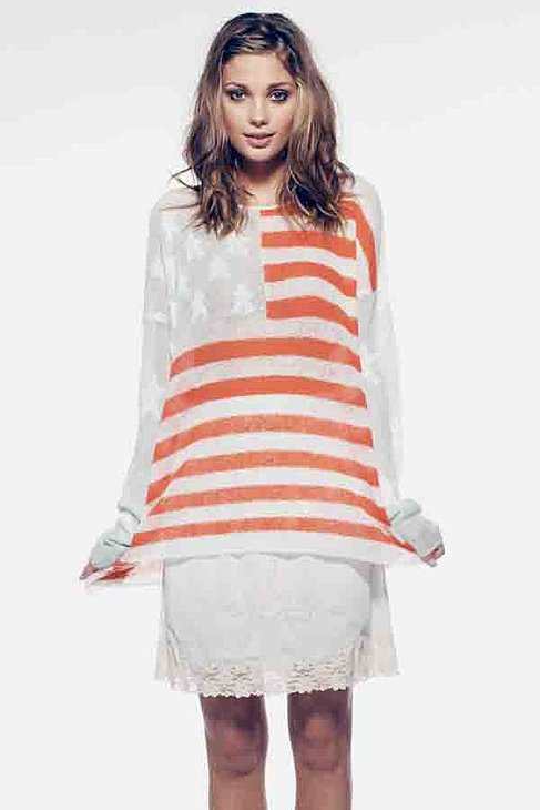 Wildfox Couture American Flag Oversize Sweater