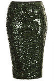 Topshop Dark Green Sequin Pencil Skirt