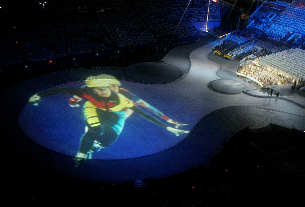 Giant images were projected onto the ground.