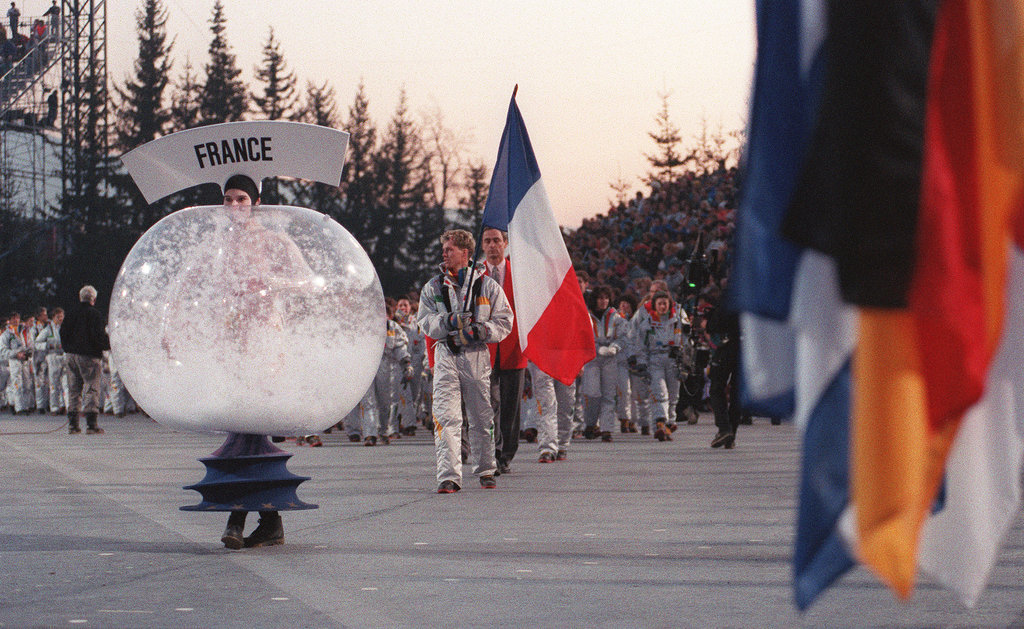 Albertville, France, hosted in 1992, when human snow globes walked the streets.