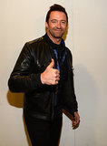 Hugh Jackman gave a thumbs-up at the Super Bowl pregame show.