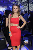 Maria Menounos showed some skin in a vibrant red crop top and skirt.