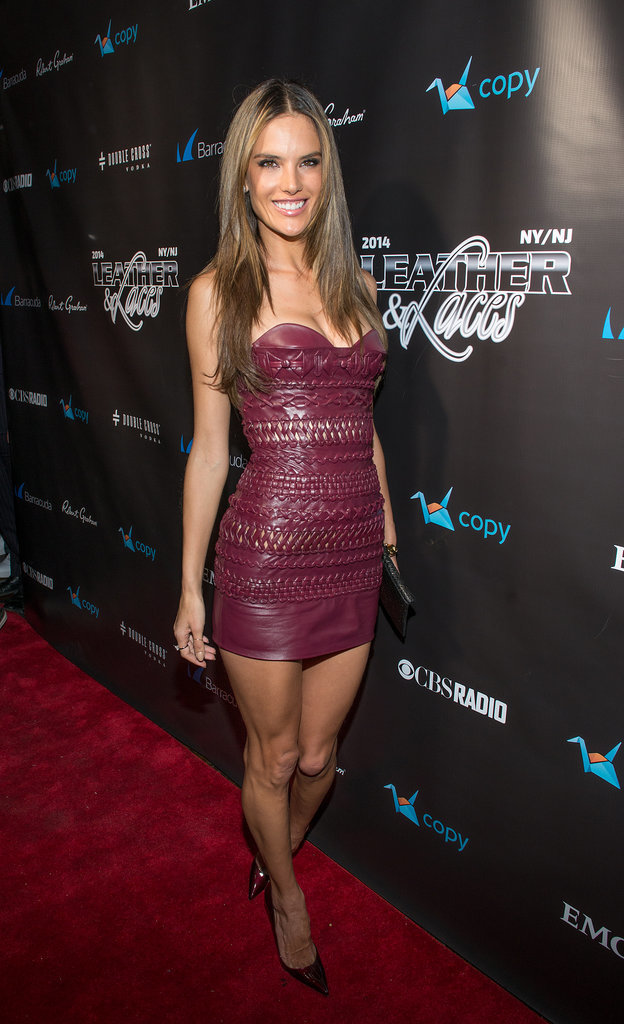 Alessandra Ambrosio was all legs at the Leather and Laces party.