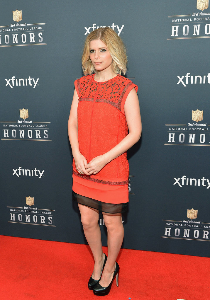 Kate Mara chose red for the NFL Honors event.