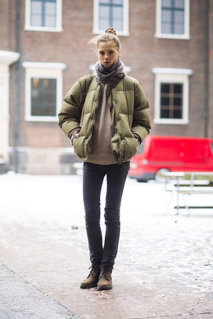 Sure your puffer jacket is a Winter necessity, but it also looks pretty cute atop skinny jeans and a cozy sweater. Source: Le 21ème | Adam Katz Sinding
