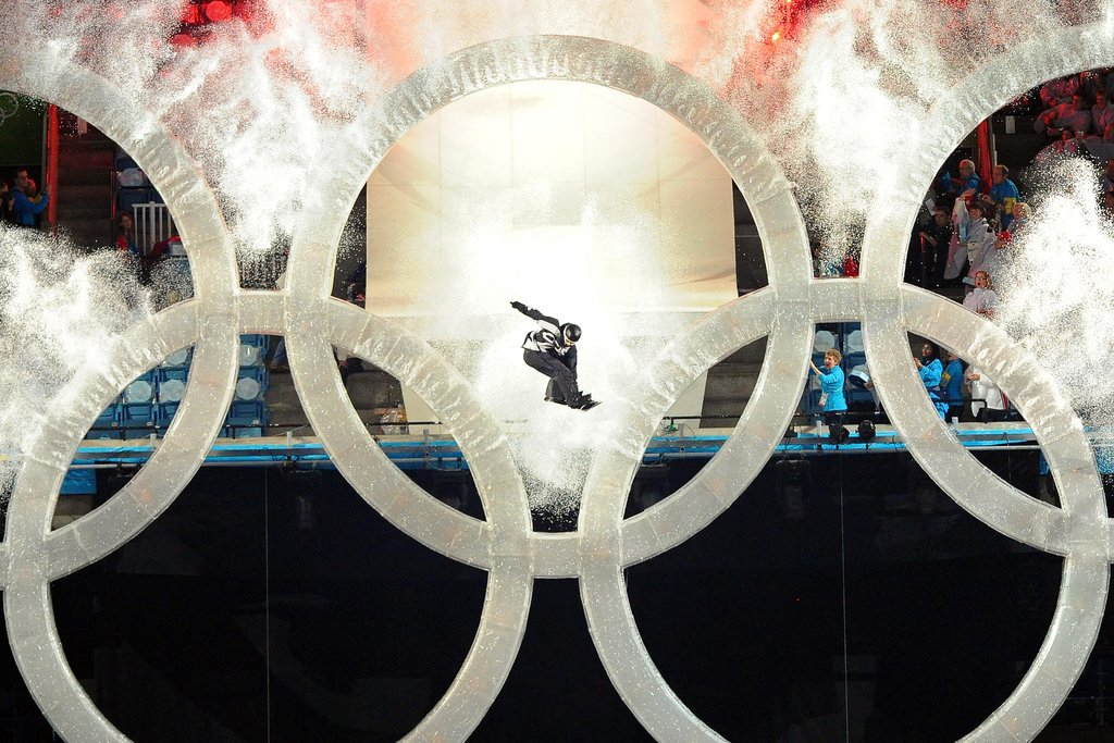 Then a snowboarder LEAPED through the Olympic rings.