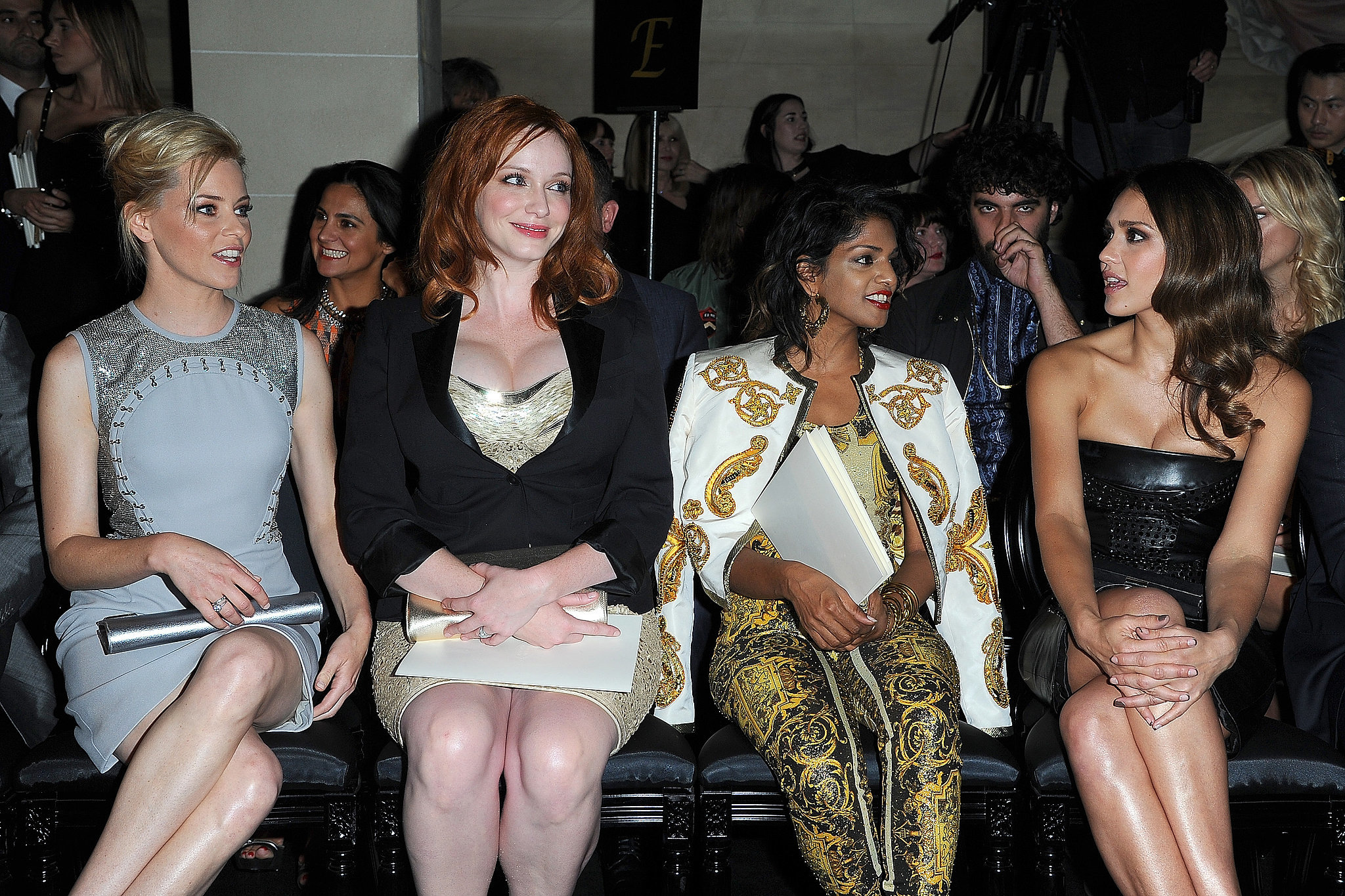 Elizabeth Banks, Christina Hendricks, M.I.A., and Jessica Alba were together in July 2012 for the Paris Versace Haute Couture show.