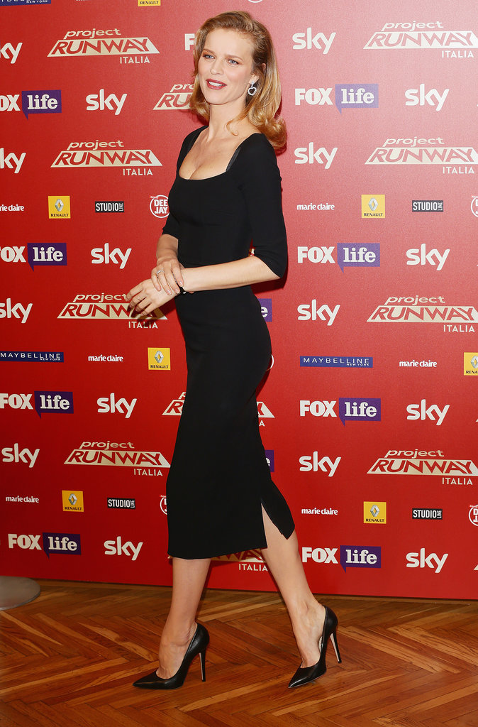 Eva Herzigova at a Project Runway photocall in Italy.