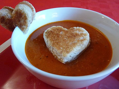 Grilled Cheese Hearts and Tomato Soup