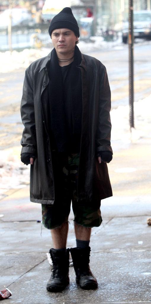 Emile Hirsch bundled up on Tuesday to film Ten Thousand Saints.