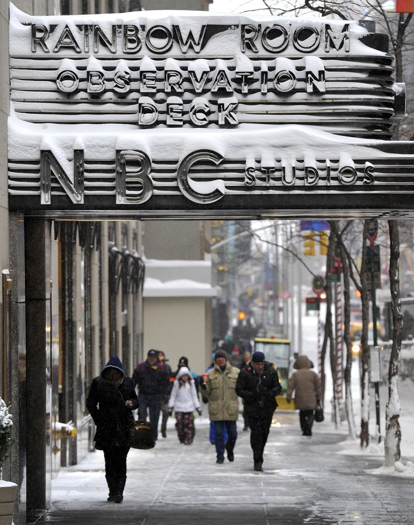 The iconic NBC Studios sign in NYC was covered with snow in the midst of the polar vortex.