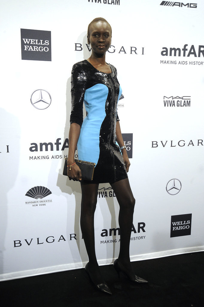 Alek Wek at amfAR's New York Gala.