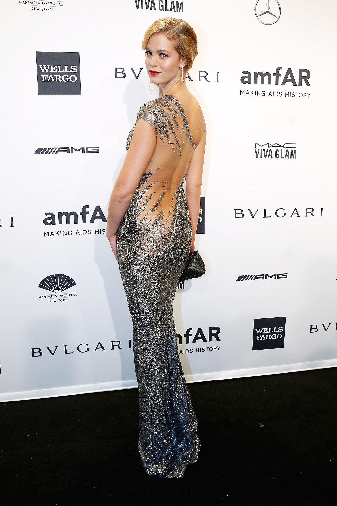 Erin Heatherton, wearing Kaufman Franco, at amfAR's Ne